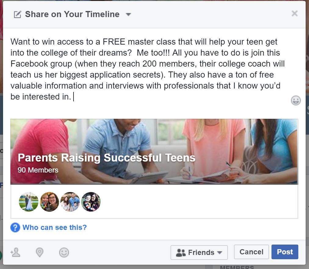 Facebook Membership Drive