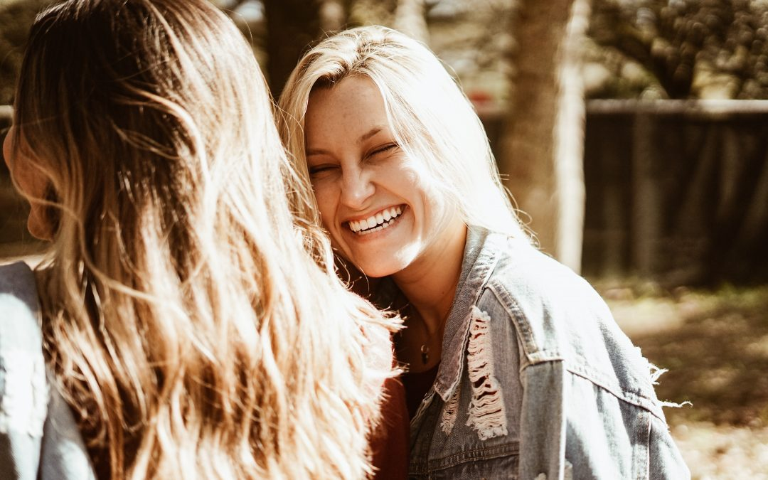 Blond Teen smiling, laughing, sunny day